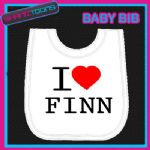 I LOVE HEART FINN WHITE BABY BIB EMBROIDERED - 160885451025